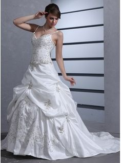 Ball-Gown Sweetheart Chapel Train Taffeta Wedding Dress With Embroidered Ruffle Beading Sequins (002012566) - JJsHouse