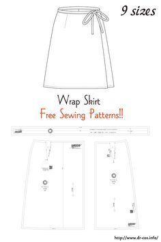 Wrap Skirt Free Sewing Patterns - This is the pattern of a Wrap Skirt. cm size) Source by ljnewberry - Skirt Pattern Free, Skirt Patterns Sewing, Sewing Patterns Free, Free Sewing, Sewing Tutorials, Wrap Skirt Patterns, Dress Tutorials, Coat Patterns, Blouse Patterns