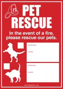 THIS OR SOMETHING SIMILAR SHOULD BE IN EVERY HOME! Nearly 40,000 pets die tragically in household fires annually. Our static-cling window decal helps firefighters locate and rescue your pets when you're not at home. http://www.petsaver911.com