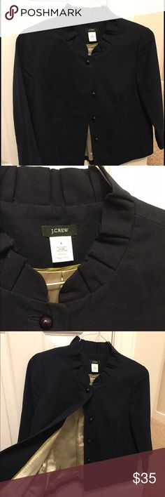 J Crew cotton pea coat with ruffle collar J. Crew Black/dark Navy cotton Pea coat.  Only worn once, smoke free home.  Very cute just too big for me. J. Crew Jackets & Coats Pea Coats