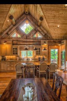 Log cabin kitchen---- my dream home!