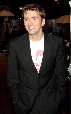 David Tennant. Wearing an Audrey Hepburn shirt. *Le sigh*