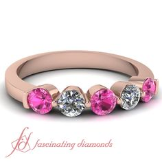 Round Diamonds and Pink Sapphire 14K Rose Gold Wedding Band in Common Prong Setting || Common Round Band