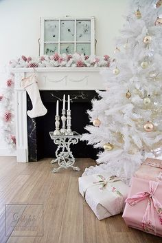 Check Out 23 Elegant Pastel Christmas Decor Ideas. Christmas decor in pastels is very sweet, especially if you choose vintage style. White Christmas Tree Decorations, White Christmas Trees, Christmas Mantels, Noel Christmas, Beautiful Christmas, Silver Christmas, Christmas Ornaments, Gold Ornaments, Magical Christmas