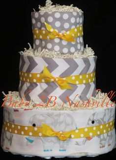 Diaper Cake for Boys or Girls  in Grey Elephant by Baby2BNashville, $92.00