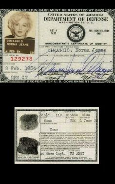 Marilyn's Dept of Defense ID