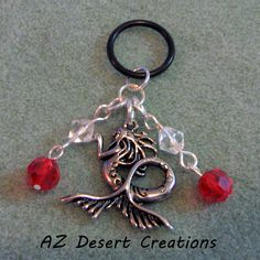 Mermaid and Clear and Red Dangle MOD Charm Vaporizer Charm Handmade | DesertCreations - Accessories on ArtFire