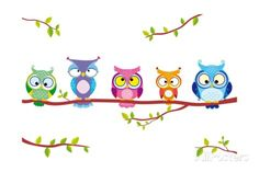 Owl five. Illustration of five different funny owls sitting on a branch , Cover Pics For Facebook, Twitter Cover, Facebook Timeline Covers, Cover Pages, Cover Art, Fb Banner, Timeline Cover Photos, Funny Owls, Owl Pictures