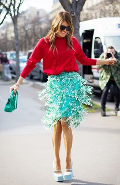 Add a charming green skirt to your spring wardrobe! Get The Look: Blaque Label Pleated Skirt ($97) in Mint Image via Style Du Monde