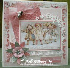 Hallo Allemaal,   Kerstkaart week 23, met een plaatje van Gerda en ja..weer een kaartje in pasteltinten.. Het DP is van SL Sweet Winter Sea...