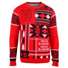 Chicago Blackhawks Patches Ugly Sweater (Red)