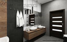 Projekt łazienki Inventive Interiors - szarość, biel i akcent drewna - drewno i kamień w łazience - oświetlenie w lazience