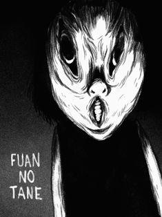 "I had to show my appreciation for the manga series ""Fuan No Tane"" and ""Fuan No Tane Plus"" by Masaaki Nakayama, so i drew the not-so-imaginary friend ""Ochonan""! Manga Drawing, Manga Art, Manga Anime, Arte Horror, Horror Art, Creepy Art, Scary, Japanese Horror, Horror Movie Characters"