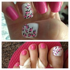 Leopard pink manicure and pedicure Love Nails, Pink Nails, How To Do Nails, Pretty Nails, My Nails, Pink Toes, Yellow Nails, Gorgeous Nails, Toe Nail Designs