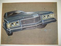 18 X 24. Brownish canson paper; dark blue Ford LTD front end/grill; prismacolor, ink & gouache; Original signed Gump (4-4-72).