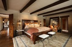 Santa Fe Hacienda by Chandler Prewitt Design- Nothing Like a soft rug under your toes right when you crawl out of bed!  #traditional #Bedroom #loverugs