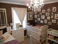 Antique Shabby Chic Girls Nursery Room. I like the brown with purple