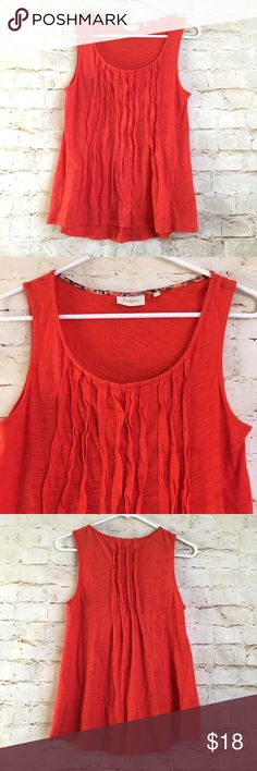 Anthropologie Deletta Tank Top Anthropologie Deletta Women's Size Small Red Sleeveless Tank Top  Armpit to Armpit - 17 Inches  Length in Front - 24 Inches  Length in Back - 25.5 Inches  Red/Orange Color  Gently Used Condition  100% Cotton Anthropologie Tops Tank Tops