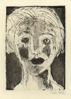 """amare-habeo: """"Emil Nolde (German-Danish, 1867 - 1956) The Picture of a Girl (Mädchenbildnis), 1924 etching """""""
