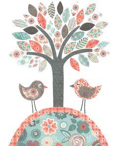 Printable Bird Nursery Art Aqua Navy Coral Tree Print Girls Room Decor Children Baby Shower Gift Nursery Ideas INSTANT DOWNLOAD DIGITAL File