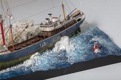 1:142 Revell Fishing Trawler as abandoned Radio London Pirate radio station