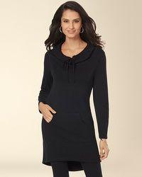 Fleece Drawstring Hooded Tun #my soma wish list sweepsic Black