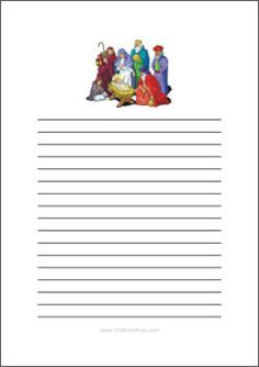 Free Printable Nativity Scene Patterns Christmas Writing Paper Templates 1234