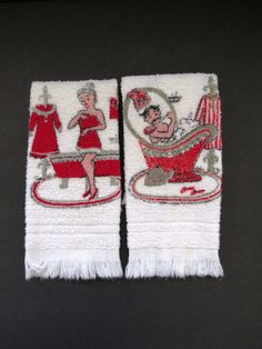Vintage Mr and Mrs Hand Towels by Dundee - Terry Cloth Bathroom Towels - Red White - Novelty - Vintage Linens - Collectible - Gift Idea by shabbyshopgirls on Etsy