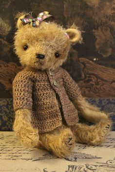 Sara a cute dressed mohair teddy bear by rachelannbailey