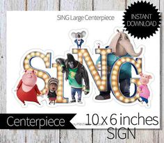 SING Birthday Party PRINTABLE Centerpiece-Instant Download