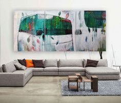 Original large 3 panel painting Abstract set of 3 by MirnaSisul, $1600.00
