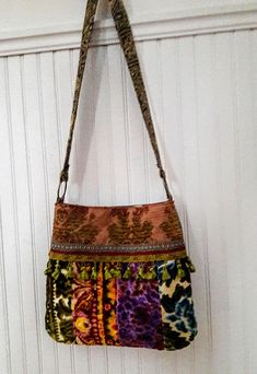 Your place to buy and sell all things handmade Carpet Bag, Fabric Remnants, Vintage Velvet, Cute Bags, Boho, Sewing Projects, Sewing Ideas, Backpack Bags, Bucket Bag
