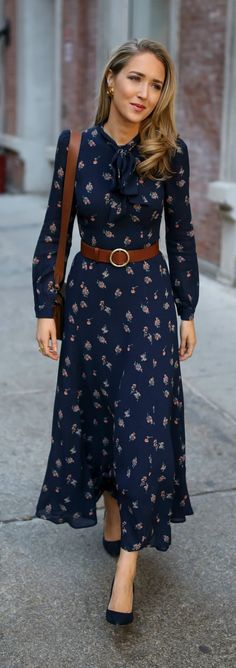 30 DRESSES IN 30 DAYS: Meet The Parents // Navy floral tie-neck maxi dress with navy suede stiletto pumps, a brown leather circle waist belt and a brown leather cross body bag {Reformation, Jimmy Choo, Frame, Ralph Lauren, Chanel, what to wear to meet the parents, classic style, classy dressing, fashion blogger, winter style}