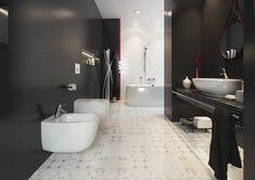 Czarne matowe płytki, nowoczesne wnętrze, czerwone dodatki. Basic Palette - Opoczno - płytki ceramiczne 25x75. Odważ się na czerń w łazience. Matowe płytki nadają niesamowitej elegancji.