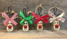 Items similar to Wine Gift Ideas, Set of 4 Rudolph Ornaments, Rudolph Ornaments, Wine Stocking Stuffer on Etsy Wine Cork Ornaments, Wine Cork Crafts, Xmas Ornaments, Outdoor Christmas, Christmas Crafts, Christmas Decorations, Gifts For Wine Lovers, Wine Gifts, Lovers Gift