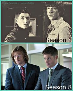 "I laughed so hard when i read this! It is true ;)  ""Supernatural- season 1 vs. season 8. Some things do get better with age!!!"""