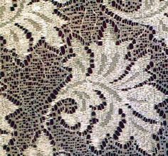 Detail showing a very stylized leaf.  Each leaf is approximately 3 inches wide so that the gathered Curtain is fairly private.