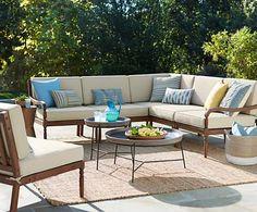 GroBartig Napa Modular Acacia Wood Outdoor Seating Set With Firepit   Style #