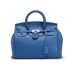 Bolsa Couro Hollywood Birkin - Azul Escuro
