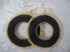 Beadwork Hoop Earrings - Big Bold Black Seed Bead Hoop Earrings. $32.00, via Etsy.