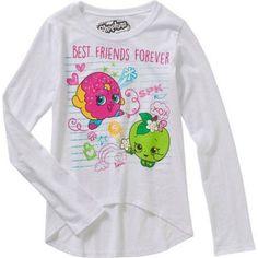 Shopkins Girls' I Love Shopkins Long Sleeve Scoop Neck HiLo Graphic Top, Size: Medium, White