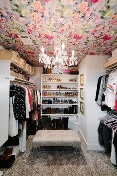 Tour A Dallas Designer S Warm Bohemian Bungalow Wallpaper On Ceiling Chandelier Pink Closet Closet Wallpaper, Wallpaper Ceiling, Closet Chandelier, Ceiling Chandelier, Bungalow, Pink Closet, Dressing Room Closet, Ideas Prácticas, Glam Room