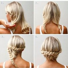 A two minute hairstyle perfect for hot summer days to get your hair out of your face. 1. Separate your hair down the middle and begin braiding down adding in hair like a french braid except only add in hair on the side closest to the part line. 2. Repeat on other half of hair. 3. Take one braid and wrap it across the bottom half of your head and secure with bobbie pins. 4. Take the other braid and do the same. A hairstyle that is great for short hair!