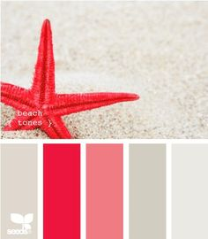bright red and sand gray color palette, pantone grenadine