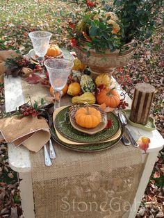 StoneGable:: beautiful table setting for harvest celebration dinners