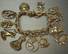 "Vintage Circa 1950 10 & 14KT Gold Jewish Charm Bracelet - ""12 Tribes of Israel"""
