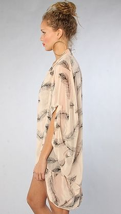 Reverse Feather Print Cardigan in Pink   Sewing inspiration ...