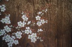 cherry blossoms painted on a door