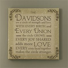 "Circle Of Strength 12"" x 12"" Personalized Canvas Print"