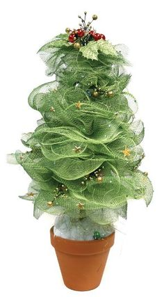 Beautiful miniature DIY Christmas tree made with green deco mesh and a flower pot. Love this idea for table settings!